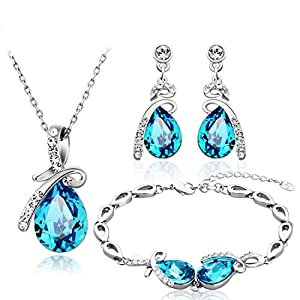 NEOGLORY Jewelry Blue Crystal Teardrop Pendant Necklaces, Bridesmaid Earring Bracelet Women Jewelry Set Embellished with…