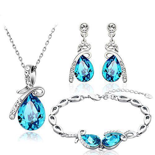 Neoglory Jewelry Blue Crystal Teardrop Pendant Necklaces, Bridesmaid Earring Bracelet Women Jewelry Set Embellished Crystals from ()