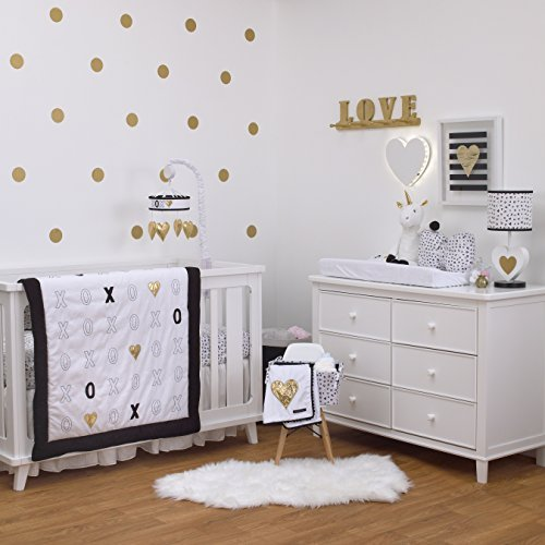 NoJo NoJo - XOXO - 4-Piece Crib Bedding Set, Black, White, Gold [並行輸入品]   B07GGWWZZ1
