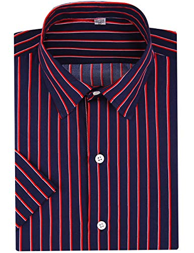 DOKKIA Men's Business Short Sleeve Vertical Striped Dress Shirts (Navy Blue Red, Small) ()