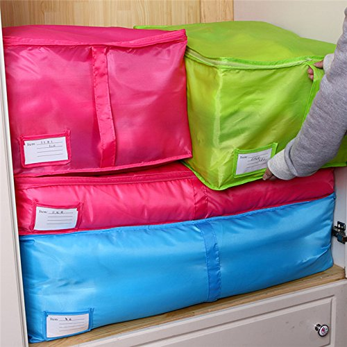 RedSonics(TM) Polyester Home Quilt Storage Bag Bedding Duvet Zipped Handles Laundry Floding Wardrobe Clothes Storage Bags Home Organizer[ Rose Red L ]