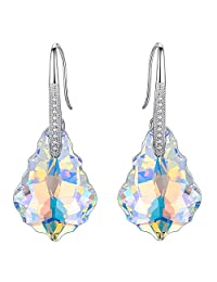 EleQueen 925 Sterling Silver CZ Dangle Hook Earrings Adorned with Swarovski® Crystals