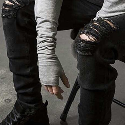 Uomo Distrutto Denim Slim Estate Mode Nero Pants Casual Pantaloni Jeans Fit dxaF0Pa