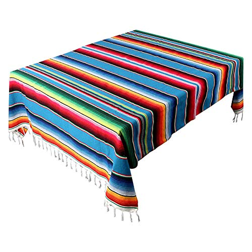 AerWo 59 x 84 Inch Mexican Tablecloth Mexican Serape Blanket for Mexican Party Wedding Cinco De Mayo Fiesta Decorations Outdoor Picnics Dining Table Cover, Large Square Cotton Fringe Table Cloth]()