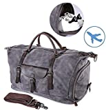 Cheap Travel Duffel Bag Large Canvas Sports Hand Bag Vintage Weekender Luggage Bag for Women Men Gray