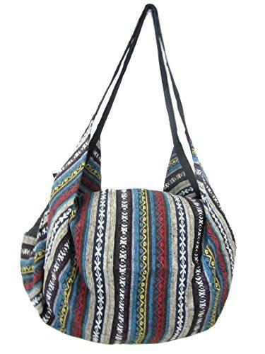 Large Aztec Yoga Convertible Crossbody Backpack Hippie Hobo Sling Bohemian Shoulder Bag (Navajo) by Blue Orchid