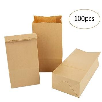 100 Piezas 9 x 17 x 5 cm Pequeñas Bolsas de papel kraft para Nuez El pan La comida Merienda Fruta Bolsa de regalo (Marrón)