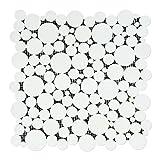 Thassos White Greek Marble Bubbles Mosaic Tile, Honed
