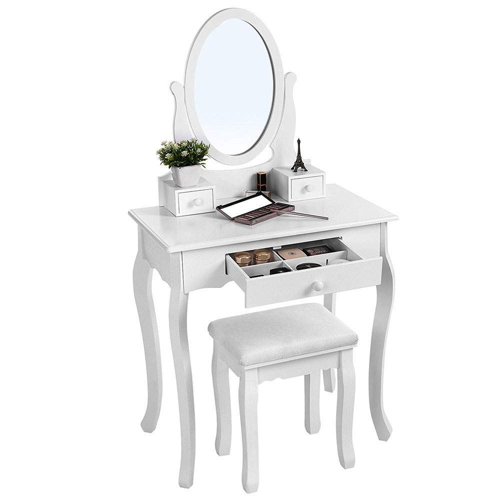 Vanity Makeup Table Set Frisierkommode Mit Hocker Und Ovalem Spiegel (Weiß) for Zuhause Stilvolle und funktionale Moderne Möbel (Farbe : Weiß, Größe : 70 * 40 * 129.5cm)