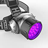 UV LED Black Light Headlamp- for Night Fishing, Explorers and Rock Hounds, Detects Scorpions, Auto Oil and HVAC Leaks, Pet Urine Stains and More, 4 Light Modes, Adjustable Lightweight, Comfortable