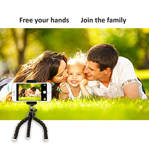 UBeesize Phone Tripod, Portable and Adjustable Camera Stand Holder with Wireless Remote and Universal Clip, Compatible…