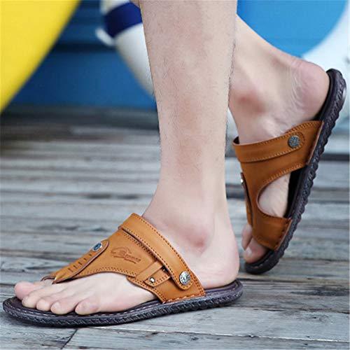 Antiscivolo Scarpe Giallo Casual Spiaggia in Estate Sandali Pelle Traspirante Uomo Pantofole v8qY6w