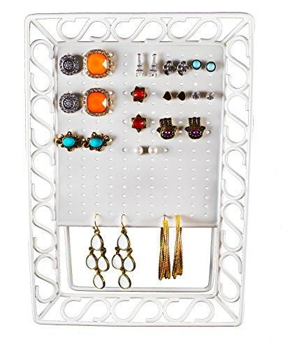 Mango Steam Mini Metal Earring Jewelry Organizer, White - White Metal Earring