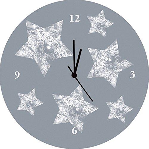 Artland Qualitätsuhren I Funk Wanduhr Designer Uhr Glas Funkuhr Größe: 35 Ø Weltall & Kosmos Grau D8TN