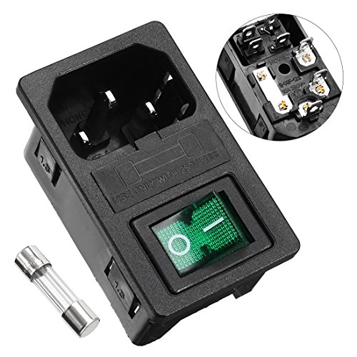 - uxcell Male Power Socket IEC320 C14 AC250V 10A Inlet Module Plug with Fuse Holer Green Rocker Switch