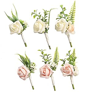 Ling's moment Boutonnieres for Men Wedding Boutonnieres with Pins for Groom Best Man Artificial Flower for Wedding Party Prom Man Suit Wedding Decorations (Set of 6) 14