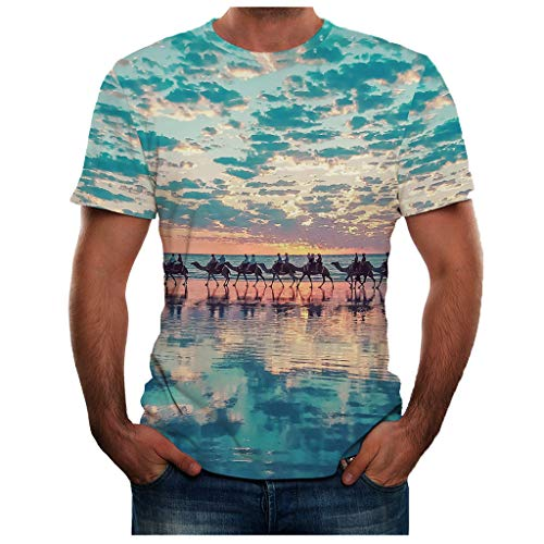 iHPH7 T Shirt Fashion Cool 3D Print T-Shirts Funny Graphics Pattern Crewneck Short Sleeve Tees Plus Size Top Blouse for Men (M,24- Blue) -