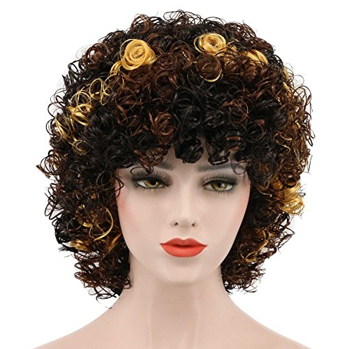 Karlery Women Short Curly Black Brown Gold Rocker Wig California Halloween Cosplay Wig Anime Costume Party Wig