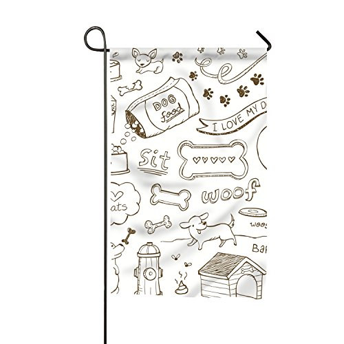 Doodled Dogs And Accessories Home Flag Designer Garden Flag