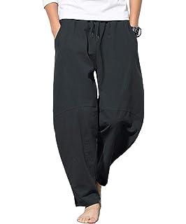 9a18e4dd5ffcb Amazon.com: BingYELH Men's Drawstring Casual Beach Trousers Linen ...