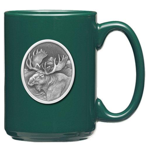 1pc, Pewter Moose Coffee Mug, Dark Green