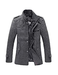 NiSeng Mens Trench Coat Slim Fit Winter Coats Single Breasted Jackets