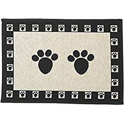 """PetRageous Paws Tapestry Mat Feeder, Large/28"""" x 18"""", Natural/Black"""