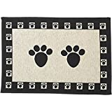 ": PetRageous Paws Tapestry Mat Feeder, Large/28"" x 18"", Natural/Black"
