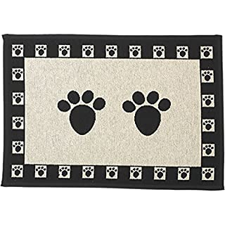 """PetRageous Paws Tapestry Mat Feeder, Large/28"""" x 18"""", Natural/Black, Off-White (12049)"""