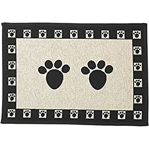 PetRageous Paws Tapestry Mat Feeder, Large/28″ x 18″, Natural/Black