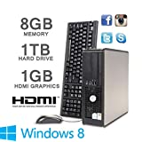 Dell PC HDMi GeForce or Radeon Graphics - 1000GB HDD - 8GB Memory - Intel Core 2 Duo Pc SFF Fast Machine - Windows 8 (P2-9-8)