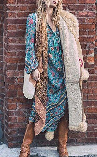 Fleur Impression BLACKMYTH Robe Cou Longue Boho Bleu Asymtrique Femme Glands Vintage V qAABcRpw