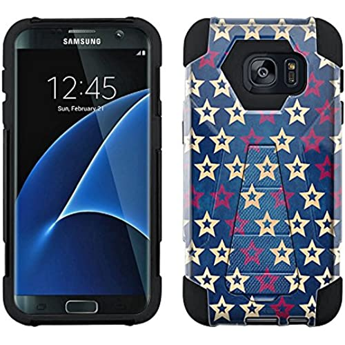 Samsung Galaxy S7 Edge Hybrid Case Patriotic White and Red Stars on Blue 2 Piece Style Silicone Case Cover with Stand for Samsung Galaxy S7 Edge Sales