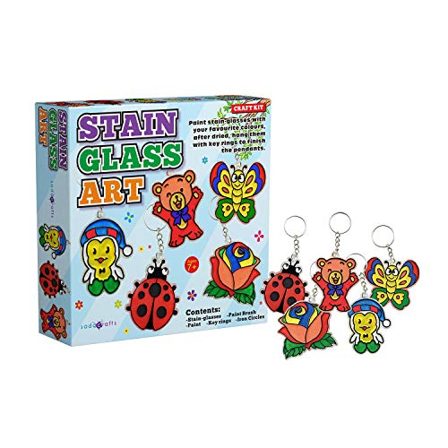 SadoCrafts Stain Glass Art Kit - Fun, Interactive, Educational and DIY Stained Glass Craft Painting for Kids Ages 7+