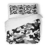 Emvency Bedding Duvet Cover Set Twin (1 Duvet Cover + 1 Pillowcase) Navy War Military Camouflage Repeats Army Black White Hunting Tan Abstract Classic Hotel Quality Wrinkle Stain Resistant