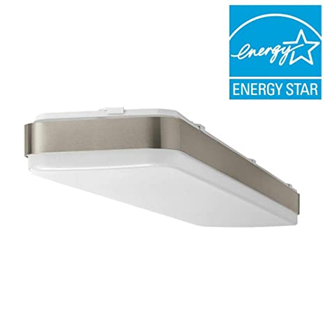 Hampton bay 4 ft x 1 ft brushed nickel led linear ceiling flushmount