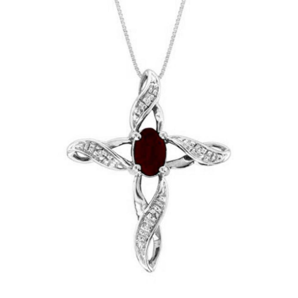 Diamond & Garnet Cross Pendant Necklace Set In White Gold Plated or Yellow Gold Plated Silver