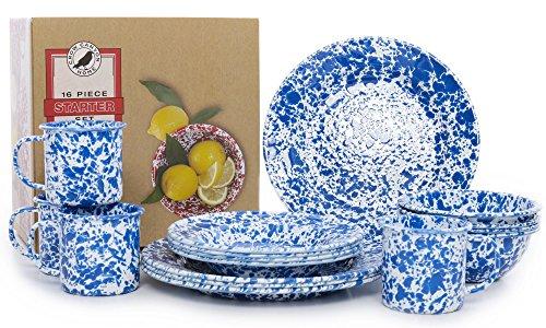 Enamelware 16 Piece Dinnerware Starter Set - Blue Marble