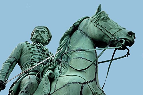 (Home Comforts Acrylic Face Mounted Prints Sculpture Monument Copper Rider On Horse Print 18 x 24. Worry Free Wall Installation - Shadow Mount is Included.)
