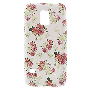 JUJEO Romantic Roses Pattern Flexible TPU Back Case Shell For Samsung Galaxy S5 mini SM-G800 - Skin - Non-Retail Packaging - Pink