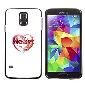KLONGSHOP // Cubierta de piel con cierre a presión Shell trasero duro de goma Protección Caso - Amor de corazón - Samsung Galaxy S5 //