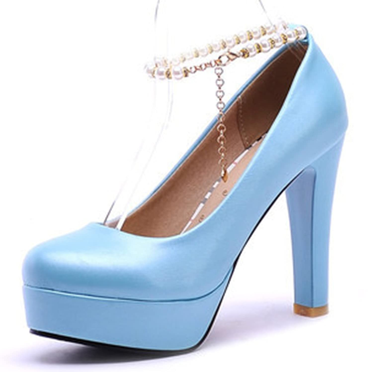 cd6e08d26e1f Sfnld Women s Elegant Round Toe Chain Strap Platform Pearls Bridal High  Chunky Heel Pumps Shoes