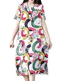 Hole Tide Women's Trend Colorful Circles Cotton & Linen Shirt Dress