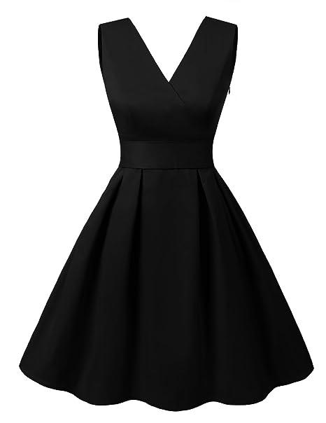 af7934042ce Dresstells reg  Vintage 1950s Solid Color V Neck with Bow Tie Retro Swing  Dress Black