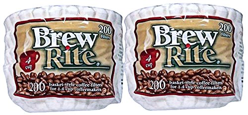 1 Basket Cup Filter (Brew Rite 4 Cup Coffee Basket Disposable Filters - 400 Ct)