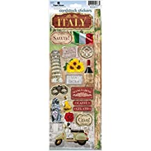 Paper House Productions STCX-0192E Travel Cardstock Stickers, Italy, 6-Pack