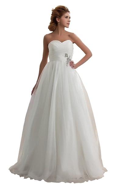 Broybuy - Vestido de novia - corte imperio - Sin mangas - Mujer beige 48