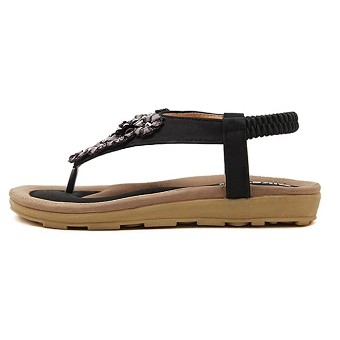 YOUJIA Damen Sandalen Schuhe Flattie mit Drill Strappy Flip Flops Schwarz 41 JRyQtD0a4L