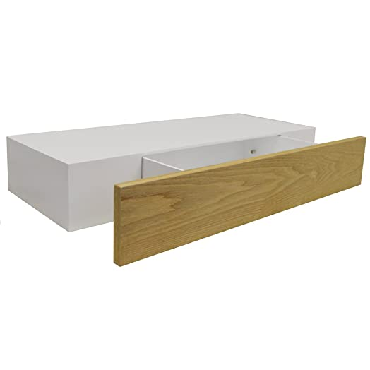 HIDDEN   2ft / 60cm Floating Storage Shelf With Drawer   White / Ash