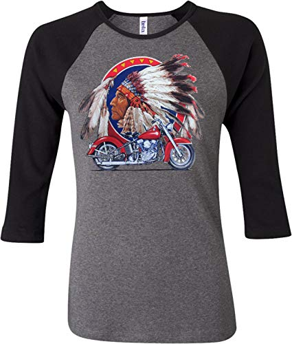 - Buy Cool Shirts Indian Motorcycle Big Chief Ladies Raglan Shirt Deep Heather Black XL